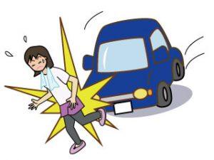 歩行者と車の交通事故現場