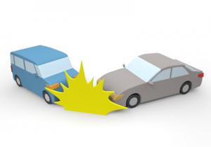 自動車同士の追突事故現場